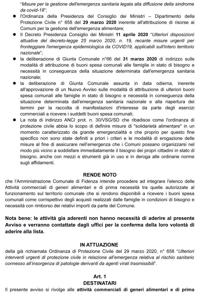 AVVISO PUBBLICO BUONO SPESA COMUNALE 21 aprile 2020 DEF